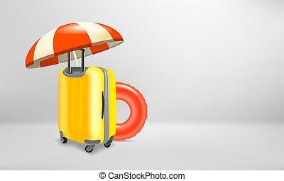 utazás, segédszervek, fogalom, bőrönd, műanyag, szünidő