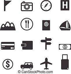 utazás, set., ikonok