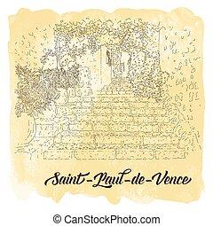 utazás, sketching., város, vízfestmény, kártya, művészet, franciaország, vektor, egyenes, saint-paul-de-vence., idegenforgalom, silhouette., illustration., háttér., concept.
