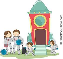 utazás, stickman, család, ábra világűr