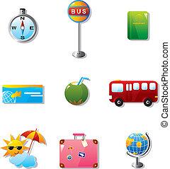utazás, szünidő, ábra, ikonok