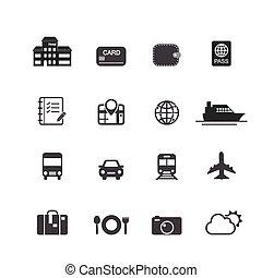 utazás, szünidő, ikonok