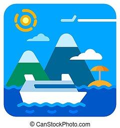 utazás, tenger, cirkálás