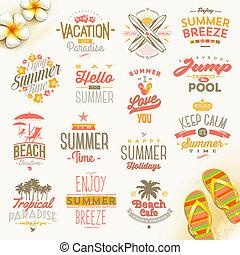 utazás, vektor, állhatatos, szünidő, nyár, gépel, ünnepek, tervezés