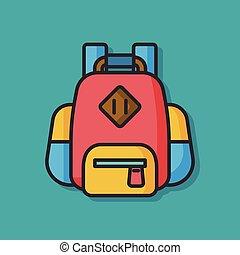 utazás, vektor, hátizsák, ikon