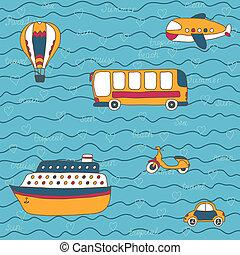 utazás, vektor, kéz, húzott, nyár, transport., design.