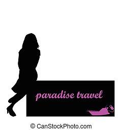 utazás, vektor, leány, csónakázik, paradicsom