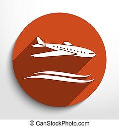 utazás, vektor, repülőgép, ikon