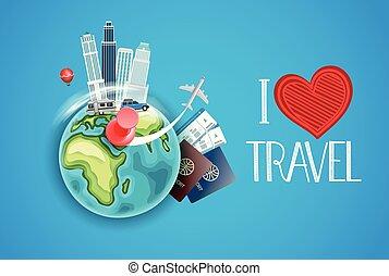 utazás, vektor, szeret, concept., ábra