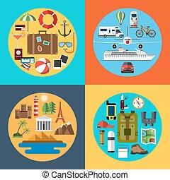 utazó, állhatatos, idegenforgalom, természetjárás, ikonok