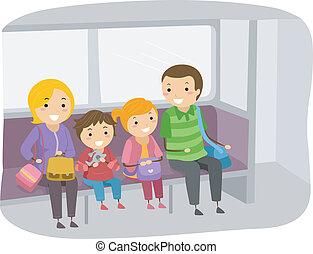 utazó, kiképez, stickman, család