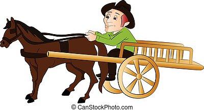 utazó, ló, vektor, cart., húzott, ember