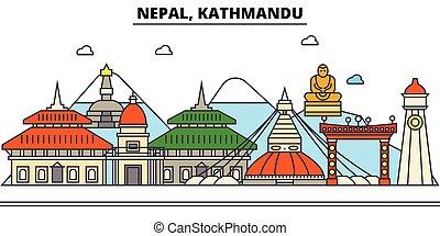 utcák, állhatatos, panoráma, épületek, építészet, strokes., landmarks., árnykép, tervezés, nepál, város, táj, ikonok, concept., elszigetelt, kathmandu., lakás, editable, ábra, egyenes, láthatár, vektor