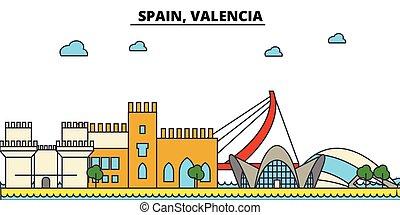 utcák, állhatatos, panoráma, épületek, építészet, strokes., landmarks., árnykép, tervezés, város, táj, ikonok, concept., elszigetelt, lakás, editable, ábra, egyenes, láthatár, vektor, valencia., spanyolország