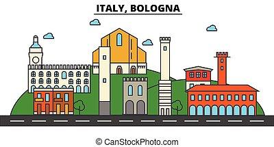 utcák, állhatatos, panoráma, épületek, olaszország, építészet, strokes., landmarks., elszigetelt, tervezés, város, táj, ikonok, concept., bologna., árnykép, lakás, editable, ábra, egyenes, láthatár, vektor