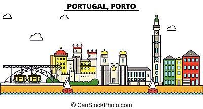 utcák, állhatatos, porto., panoráma, épületek, építészet, strokes., landmarks., árnykép, tervezés, város, táj, ikonok, concept., elszigetelt, lakás, editable, ábra, egyenes, portugália, láthatár, vektor