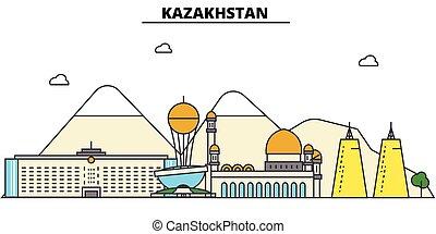 utcák, város, állhatatos, kazaksztán, panoráma, épületek, elszigetelt, építészet, strokes., editable, landmarks., lakás, árnykép, láthatár, táj, tervezés, ábra, ikonok, egyenes, vektor, concept.