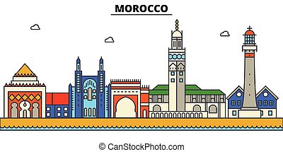 utcák, város, állhatatos, marokkó, panoráma, épületek, elszigetelt, építészet, strokes., editable, landmarks., lakás, árnykép, láthatár, táj, tervezés, ábra, ikonok, egyenes, vektor, concept.