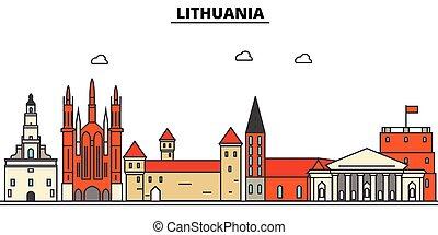 utcák, város, állhatatos, panoráma, épületek, árnykép, litvánia, építészet, strokes., editable, landmarks., lakás, elszigetelt, láthatár, táj, tervezés, ábra, ikonok, egyenes, vektor, concept.
