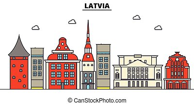 utcák, város, állhatatos, panoráma, épületek, elszigetelt, építészet, strokes., editable, landmarks., lakás, árnykép, láthatár, táj, tervezés, ábra, ikonok, egyenes, vektor, concept., lettország