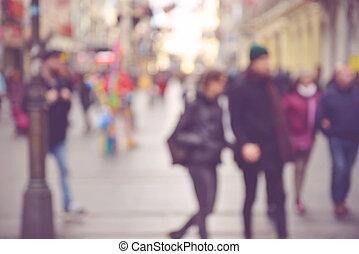 utca, át, gyalogló, életlen, emberek, város