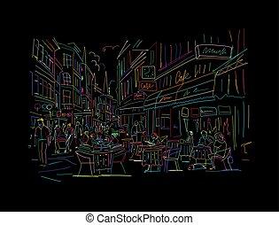 utca, öreg, tervezés, skicc, európai, -e