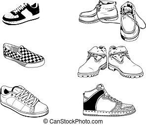 utca, cipők, férfiak