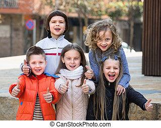 utca, feltevő, csoport, gyerekek, városi