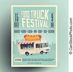 utca, illustration., poszter, repülő, szüret, hot dog, kreatív, élelmiszer, fesztivál, vektor, csereüzlet, sablon, meghívás, fél, truck., karikatúra, design.