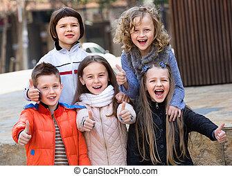 utca, városi, gyermekek színlel, csoport
