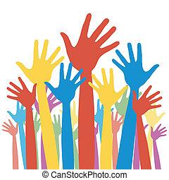 választás, általános, szavazás, hands.