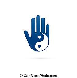 választás, fogalom, kínai, wellness, jóga, yin, -, orvosság, vektor, ikon, jel, elmélkedés, zen, yang
