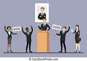 választás, hím, jelölt, tribün, politikus, álló, kampány