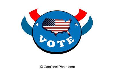 választás, kéz, amerikai, szavazócédula