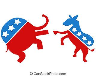 választás, vadászrepülőgép, demokrata, köztársasági érzelmű, vs