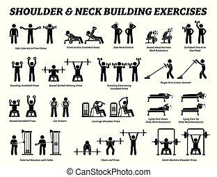 váll, épület, nyak, alak, pictograms., bot, izom, gyakorlás