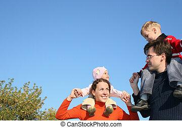 váll, gyerekek, család