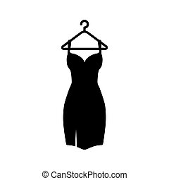 vállfa, fekete, icon., ábra, vektor, ruha