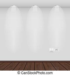 válogatott, üres, belső, fal, legjobb, vektor, illustration., parquet.