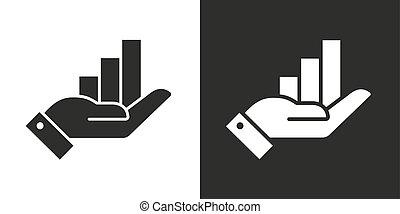 változat, kezezés., white háttér, ábra, felnövés, fekete, vektor, ikon, two-tone