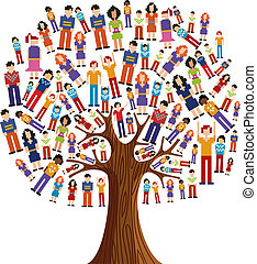 változatosság, fa, fénykép, emberi
