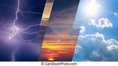 változatosság, fogalom, előre lát, kollázs, időjárási viszonyok