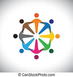változatosság, fogalom, emberek, graphic-, elvont, közösség, &, kapcsolódások, munkavállaló, icons(signs)., változatosság, színes, játék, munkás, ábra, őt előad, gyerekek, szeret, osztozás, s a többi, vektor, fogalom, barátság