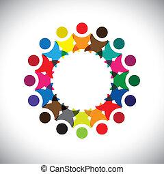 változatosság, fogalom, graphic-, elvont, közösség, &, egység, kapcsolódások, munkavállaló, icons(signs)., boldog, színes, munkás, ábra, őt előad, gyerekek, szeret, osztozás, vektor, fogalom, barátság, játék