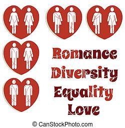 változatosság, szeret, állhatatos, egyenlőség, grafika