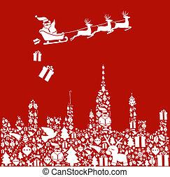 város, állhatatos, alakít, szent, karácsony, ikon