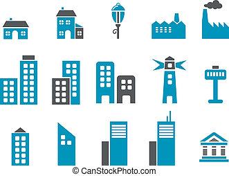 város, állhatatos, ikon