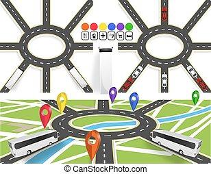 város, állhatatos, jelzett, térkép, motion., bábu, ábra, közútak, út, without., kör alakú, vehicles., navigator., mozgalom