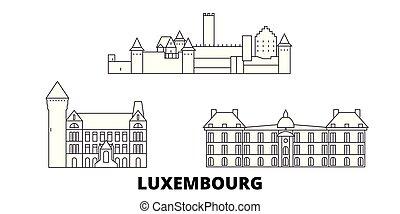 város, áttekintés, ábra, utazás, landmarks., luxemburg, jelkép, láthatár, vektor, nevezetességek, egyenes, set.