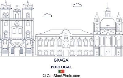 város égvonal, braga, lineáris, portugália
